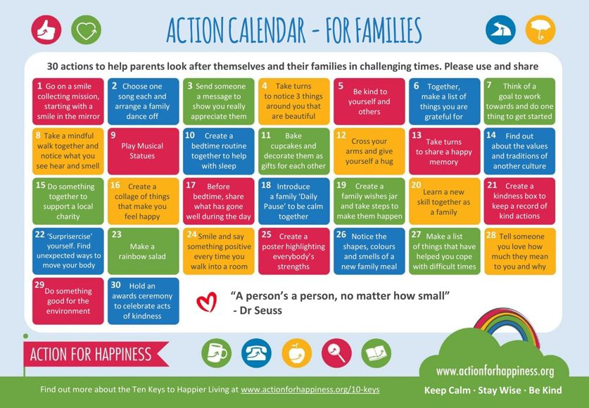 Action calendar for families