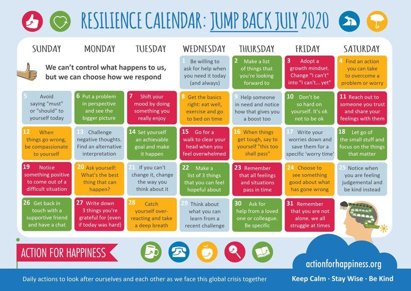 Resilience calendar