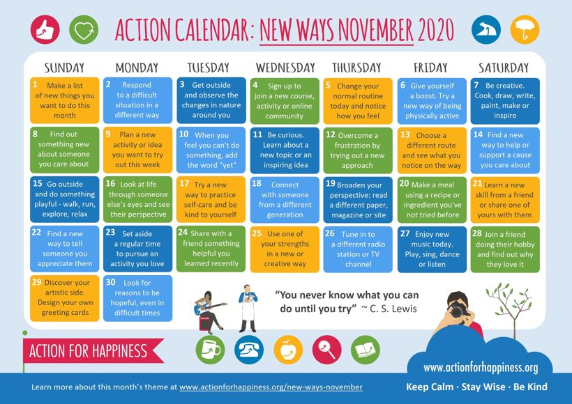 Action for happiness calendar november 2020