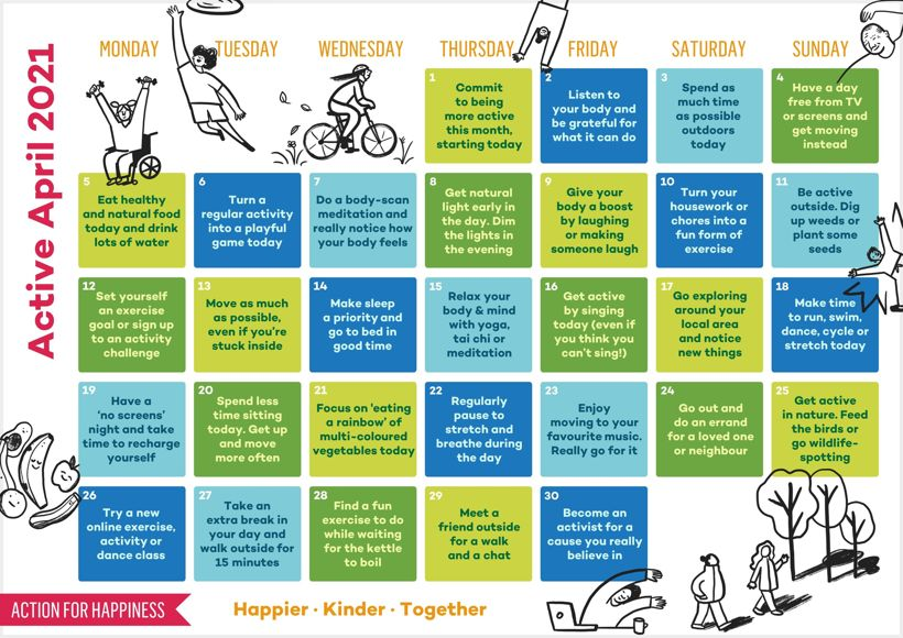 Action for happiness calendar april 2021